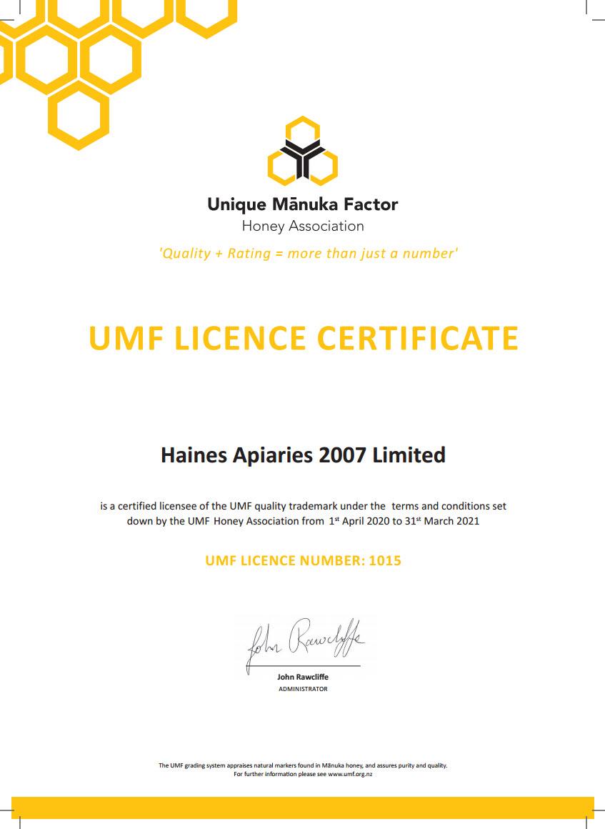 UMF certificate 2020-2021